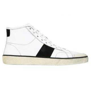 Saint Laurent Mens Distressed Classic Court High Top Sneakers