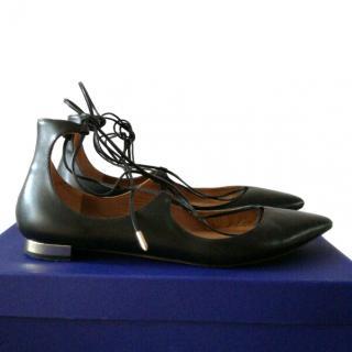Aquazurra Black Christy Flat Ballerina Shoes
