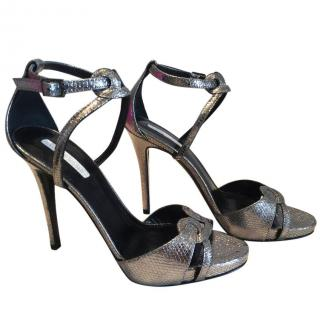 Longchamp Silver Metallic Sandals