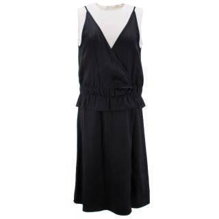 Celine Sleeveless Black Dress with Cream Underlay