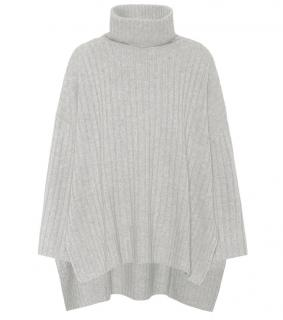 Joseph grey ribbed wool turtleneck poncho jumper