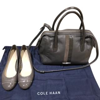 Cole Haan dark grey bowling bag and matching shoes