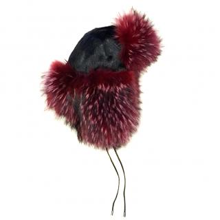 Hockley Luxury Real Fur Trapper Hat Black And Red