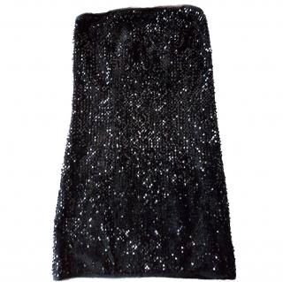 Zadig and Voltaire strapless black sequin dress 8