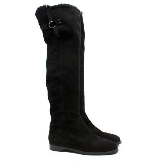 Jimmy Choo Black Stretch Suede Over the Knee Boots
