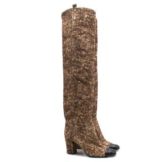 Chanel Pony Hair Over the Knee Boots - current