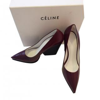 Celine Burgundy Pointed Wedge Style Shoes Size 38