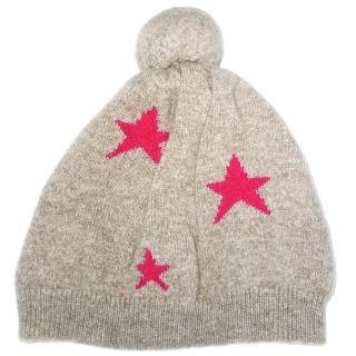 Chinti and Parker Intarsia Star Merino Wool Cashmere Beanie Hat