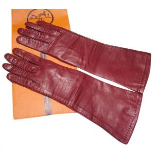 Hermes burgundy leather gloves