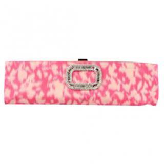 ROGER VIVIER PINK FABRIC elongated Swarovski clutch bag