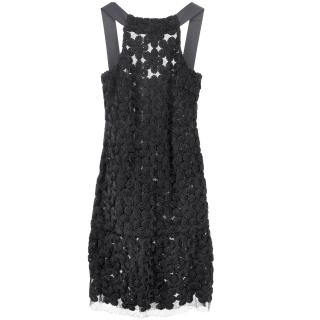 Chanel lace dress with stitched flowers details