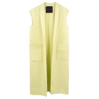 Ermanno Scervino Yellow Wool Blend Sleeveless Coat