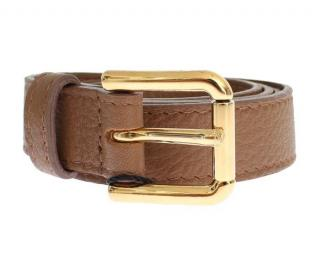 Dolce & Gabbana Brown Belt With Gold Hardware