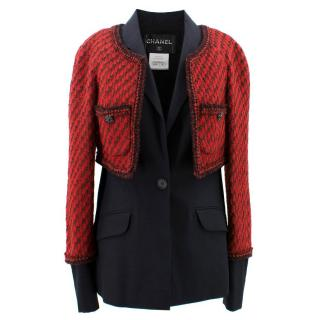 Chanel Red and Black Wool Blazer Jacket
