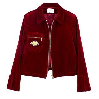 Sandro Red Velvet Jacket