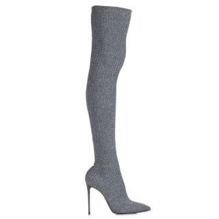 Le Silla Over the knee silver boots current season