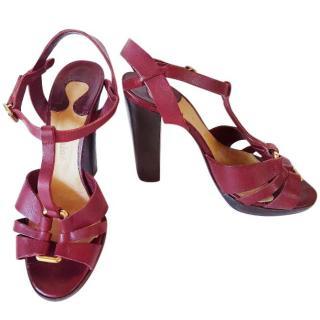 Chloe burgundy leather sandals