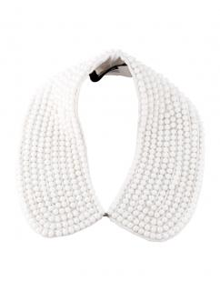 NEW KARL BY KARL LAGERFELD white beaded abbey collar