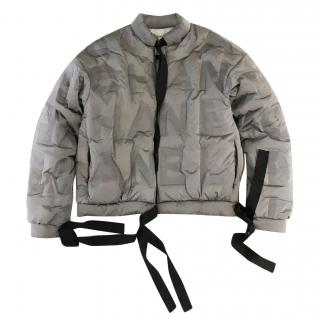 Chanel silver logo puffer jacket current season