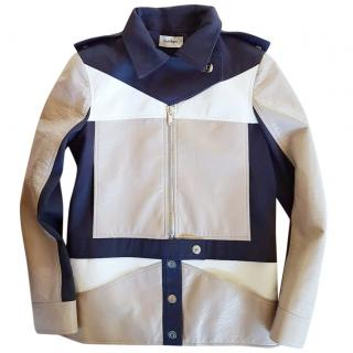 Courreges Contrast-panel vinyl jacket
