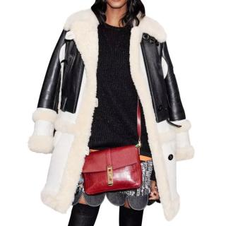 Coach Shearling & Leather Coat with Matching Scarf