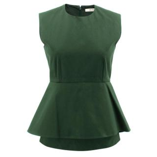 Celine Green Cotton Peplum Top