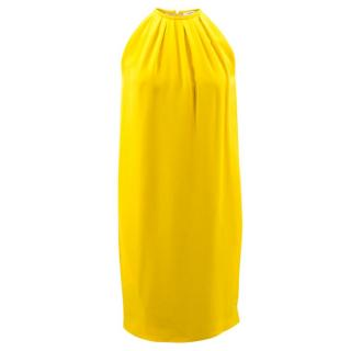 Celine Yellow Halterneck Pleated Dress