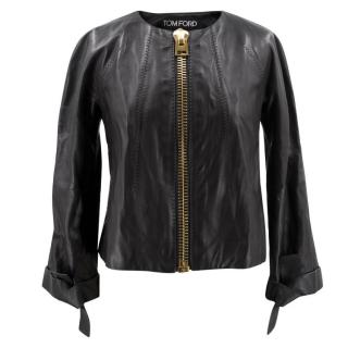 Tom Ford Black Leather Jacket with Gold Zipper