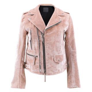Giuseppe Zanotti Pink Amelia Crushed Velvet Jacket