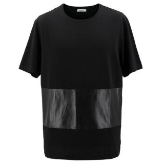 Valentino Round Neck and Leather panel Cotton T-Shirt