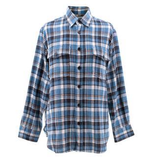 Saint Laurent Bleached Cotton Checked Shirt