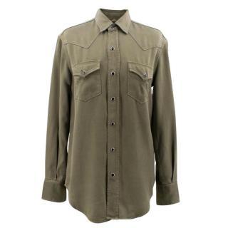 Saint Laurent Classic Western Khaki Shirt