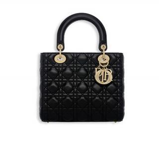 LADY DIOR black lambskin top handle/shoulder bag gold metal hardware