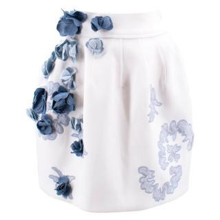 Ermanno Scervino Floral Embellished White Skater Skirt