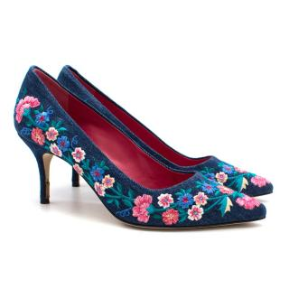 Manolo Blahnik BB Fiore embroidered denim pumps