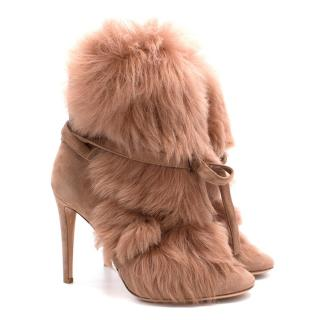 Gianvito Rossi Moritz Praline Fur Ankle Boots