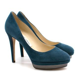 Jimmy Choo Teal suede pumps