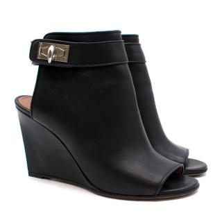 Givenchy Peep-Toe Wedge Heels with Side Buckle