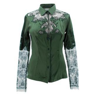 Ermanno Scervino Emerald Silk and Lace Blouse