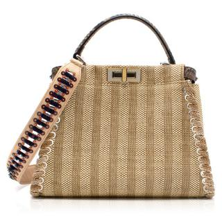 Fendi Peekaboo Python/Straw bag with Embellished Strap - Resort 17'