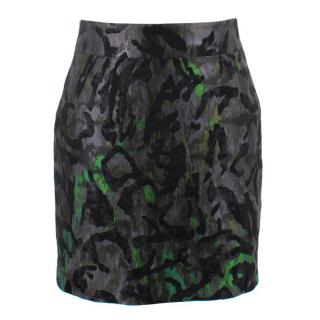 Tom Ford Black and Green Textured Skirt