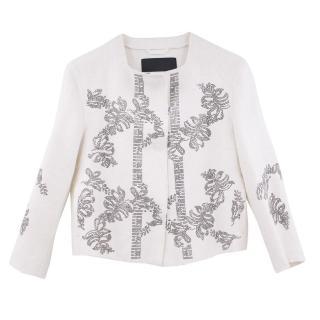Ermano Scervino Linen Jacket With Crystal embelishements