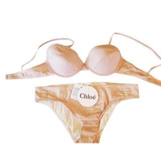 Chloe beige striped bikini