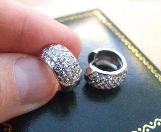 White gold & diamond Huggie Hoop Earrings