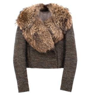 Matthew Williamson Fox Fur Collar Tweed Jacket