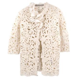 Ermanno Scervino Cream Embroidered Jacket