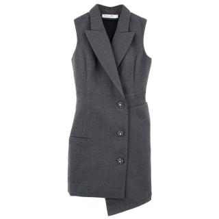 Christian Dior Asymmetrical Charcoal Grey Wool Waistcoat
