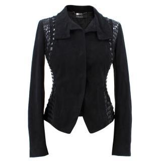 Versace Black Leather Embellished Jacket