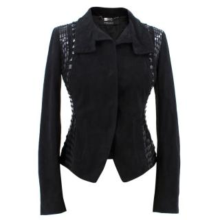 Versace Black Leather Embellished Jacket