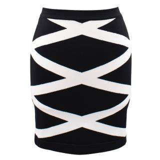 Balmain Bodycon Monocrome Mini Skirt